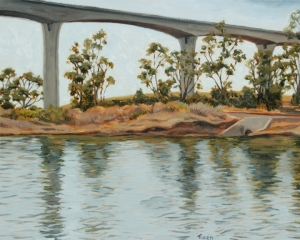 """Span,"" Original oil painting on wood panel, 16"" x 20"", by Sheila G. Ticen"